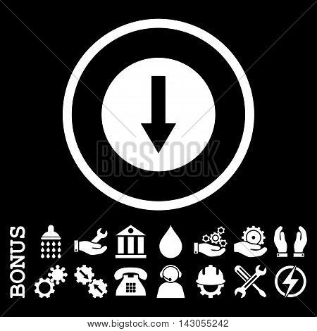 Down Rounded Arrow glyph icon. Image style is a flat pictogram symbol inside a circle, white color, black background. Bonus images are included.