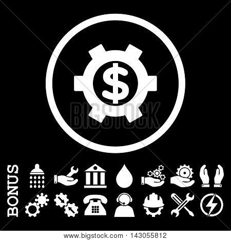 Financial Settings glyph icon. Image style is a flat pictogram symbol inside a circle, white color, black background. Bonus images are included.