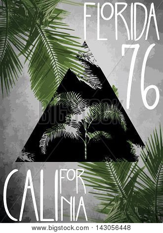 Vector illustration summer theme california florida Grunge background. Vintage design. Typography; t-shirt graphics; print; poster; banner; flyer; postcard