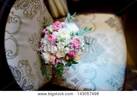 Beautiful Wedding Colorful Bouquet For Bride. Beauty Of Colored Flowers. Close-up Bunch Of Florets.
