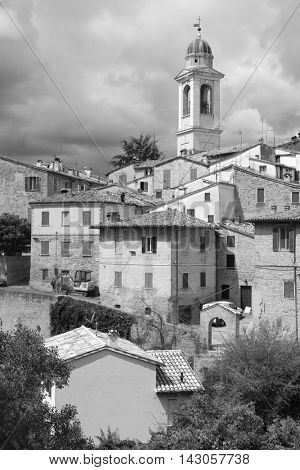 Urbania, Italy - August, 1, 2016: inhabited houses in Urbania, Italy