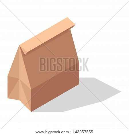 Shopping box for food. Flat vector shop product basket paper pack. Shop product pack retail store shopping supermarket plastic paper handle basket. Fast food or take out