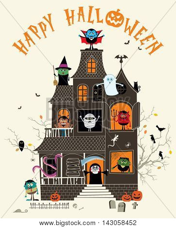 Halloween illustration with spooky haunted house full of monsters.