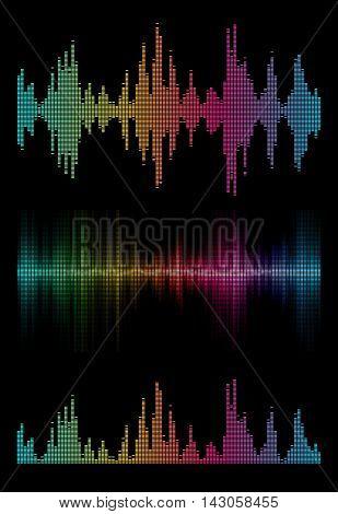Disco rainbow colored set music sound waves for equalizer or waveform design, vector illustration of musical pulse