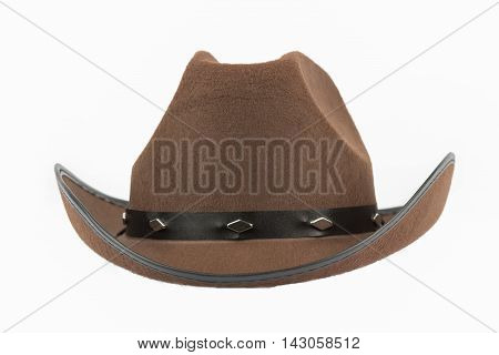 Brown felt cowboy hat with black band and diamond studs