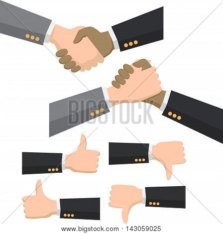 Shaking hands business vector illustration with thumb thumbs like and dislike, symbol of success deal, happy partnership, greeting shake, handshaking agreement flat sign modern design