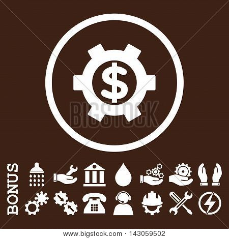 Financial Settings glyph icon. Image style is a flat pictogram symbol inside a circle, white color, brown background. Bonus images are included.