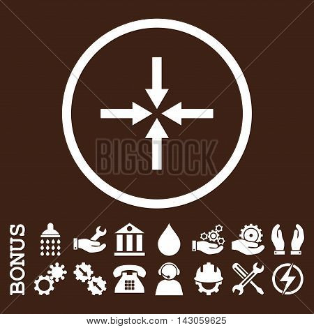 Impact Arrows glyph icon. Image style is a flat pictogram symbol inside a circle, white color, brown background. Bonus images are included.