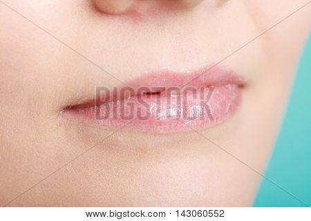 Closeup Glossy Female Lips. Part Of Face.