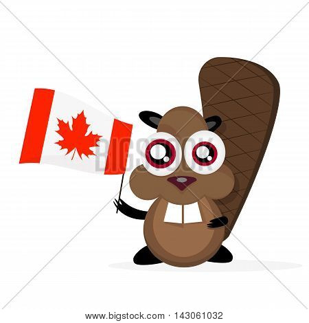 Vector cartoon clip art illustration of a cute happy cartoon beaver holding canadian Flag.