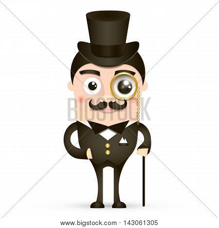 Victorian gentleman. Vintage britain gentleman in hat. Vector flat cartoon illustration