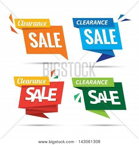 Clearance Sale Many Color 4 Tag Heading Design For Banner Or Poster. Sale And Discounts Concept. Vec