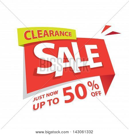 Clearance Sale Red Tag 50 Percent Heading Design For Banner Or Poster. Sale And Discounts Concept. V