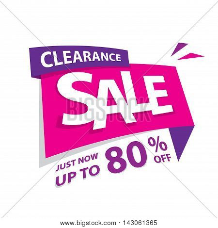 Clearance Sale Pink Purple 80 Percent Heading Design For Banner Or Poster. Sale And Discounts Concep