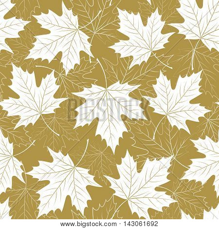 Fall leaf seamless pattern. Autumn foliage. Repeating golden color design. Vector illustration EPS10