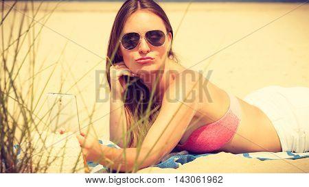 Happy Girl Taking Selfie Photo On Beach.