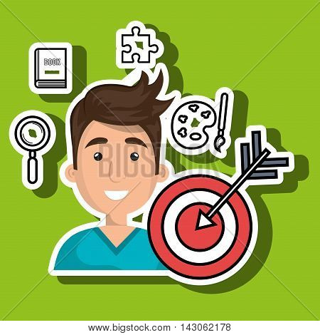man target student icon vector illustration graphic