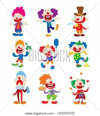 Clown character vector cartoon illustrations
