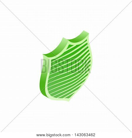 Green shield with stripes icon in isometric 3d style isolated on white background