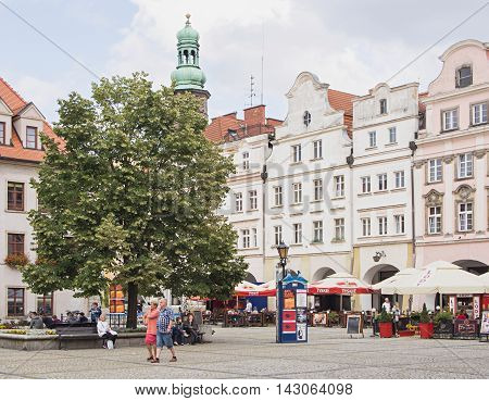 JELENIA GORA POLAND - AUGUST 17 2016: Tourists At Townhall Square in Jelenia Gora Poland