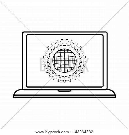 Laptop settings icon in outline style isolated on white background. Setup symbol