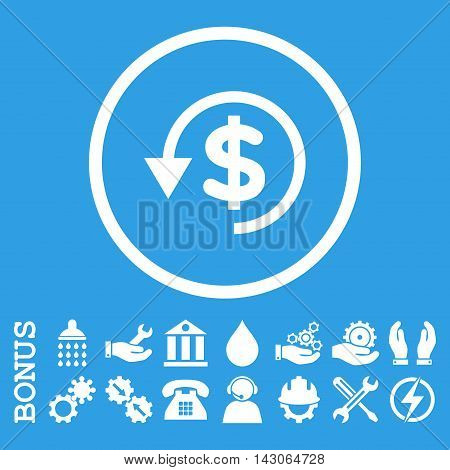 Chargeback glyph icon. Image style is a flat pictogram symbol inside a circle, white color, blue background. Bonus images are included.