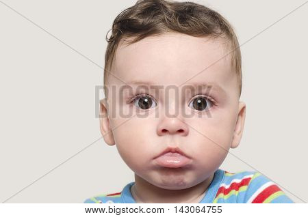 Portrait of a cute baby boy looking at camera. Adorable six month old child.