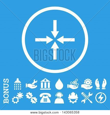 Impact Arrows glyph icon. Image style is a flat pictogram symbol inside a circle, white color, blue background. Bonus images are included.