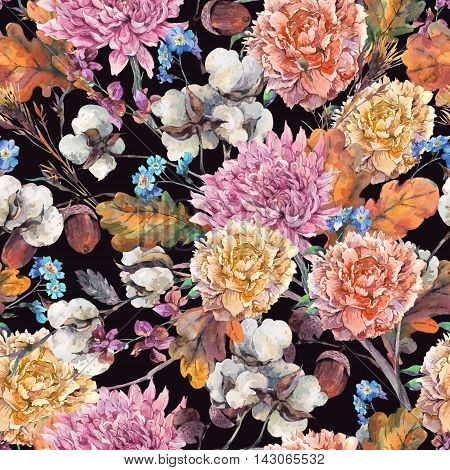 Vintage watercolor autumn seamless pattern with twigs, cotton flower, yellow oak leaves, chrysanthemum, peonies and acorns. Botanical floral illustrations.