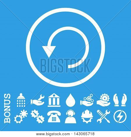 Rotate Ccw glyph icon. Image style is a flat pictogram symbol inside a circle, white color, blue background. Bonus images are included.