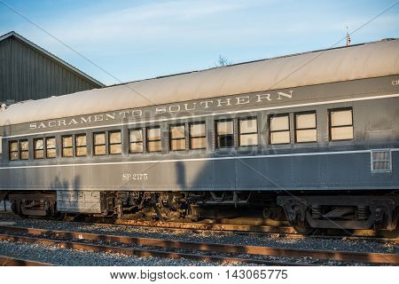 Sacramento, USA - February 20, 2016: Old and abandoned Southern train car in downtown