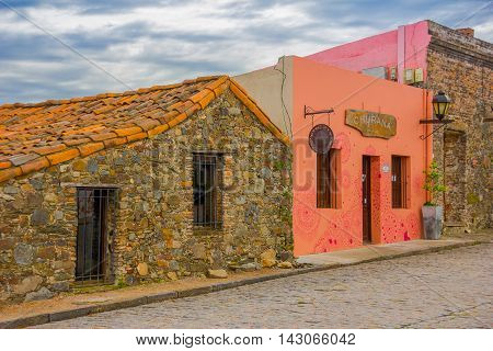 COLONIA DEL SACRAMENTO, URUGUAY - MAY 04, 2016: facade of some old houses with a colonial style.
