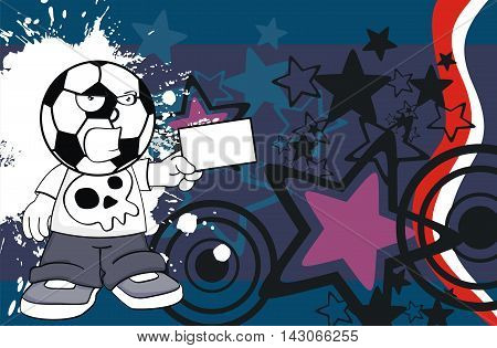 little kid soccer head cartoon expression in vector format very easy to edit