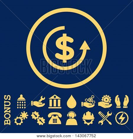 Refund glyph icon. Image style is a flat pictogram symbol inside a circle, yellow color, blue background. Bonus images are included.