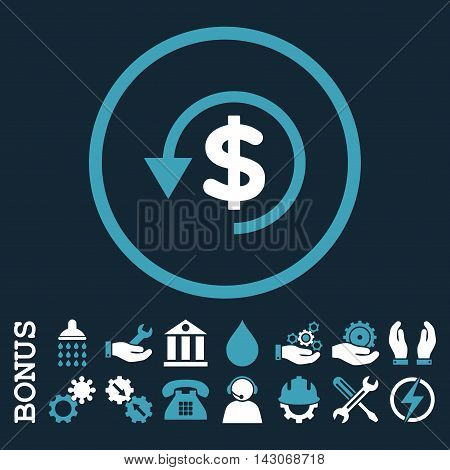 Chargeback glyph bicolor icon. Image style is a flat pictogram symbol inside a circle, blue and white colors, dark blue background. Bonus images are included.