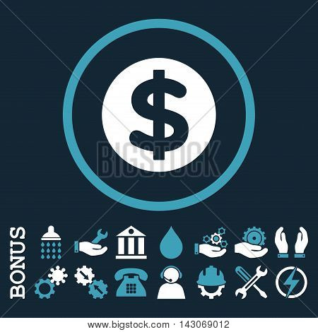 Finance glyph bicolor icon. Image style is a flat pictogram symbol inside a circle, blue and white colors, dark blue background. Bonus images are included.