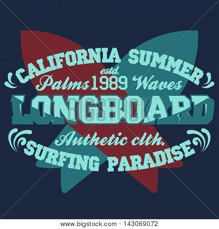 Surfing t-shirt graphic design. surfing grunge print stamp. California surfers wear typography emblem. Creative design. Vector