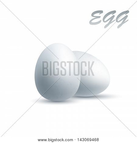White eggs, isolated on white, realistic vector illustration.