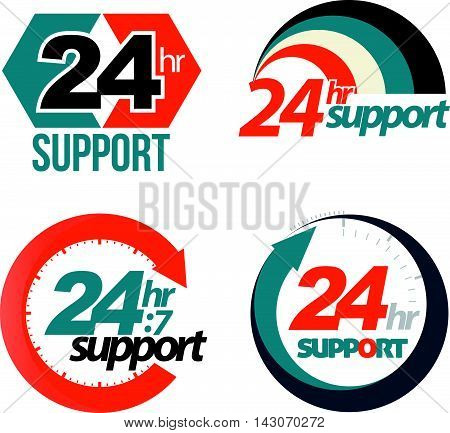 24hr 7day support set. Vector illustration. for support advertising.