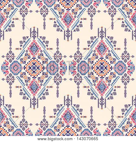 Vector Tribal Mexican vintage ethnic seamless pattern on beige