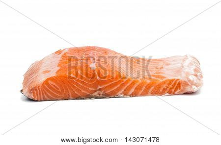 Fresh uncooked red fish fillet slices. Isolated on a white background.