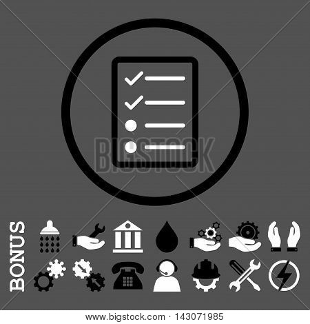 Checklist Page glyph bicolor icon. Image style is a flat pictogram symbol inside a circle, black and white colors, gray background. Bonus images are included.