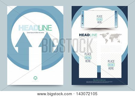 Blue annual report brochure flyer design template vector circle arrow concept Leaflet cover presentation abstract flat background layout in A4 size. Vector illustration.