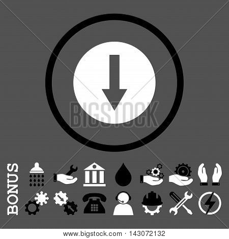 Down Rounded Arrow glyph bicolor icon. Image style is a flat pictogram symbol inside a circle, black and white colors, gray background. Bonus images are included.