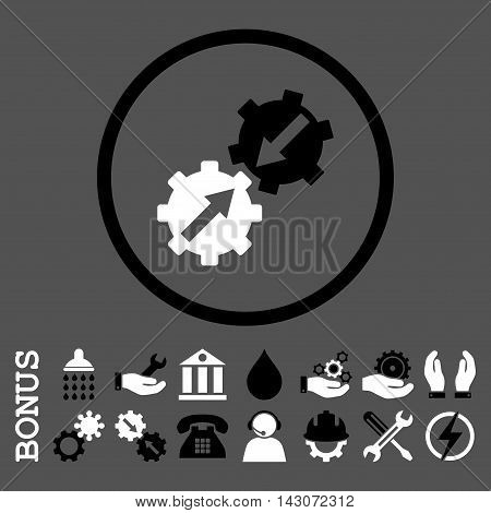 Gear Integration glyph bicolor icon. Image style is a flat pictogram symbol inside a circle, black and white colors, gray background. Bonus images are included.