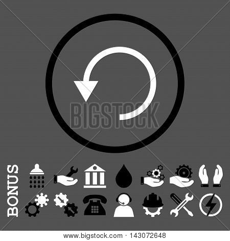 Rotate Ccw glyph bicolor icon. Image style is a flat pictogram symbol inside a circle, black and white colors, gray background. Bonus images are included.