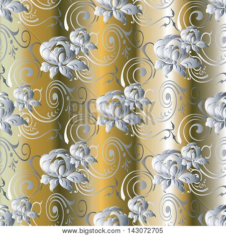 Floral modern elegant gold drapery vector seamless pattern background with white volumetric beautiful decorative flowers and vintage ornaments.Stylish illustration and 3d decor elements with shadow and highlights. Endless elegance royal texture.