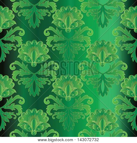Green emerald damask baroque vector vintage seamless pattern background with elegant decorative oriental  volumetric ornaments and flowers. Luxury element for design in Eastern style.Ornate 3d decor with shadow and highlights.