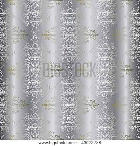 Light drapery damask baroque vector vintage seamless pattern background with elegant decorative oriental  volumetric ornaments. Luxury element for design in Eastern style.Ornate 3d decor with shadow and highlights.