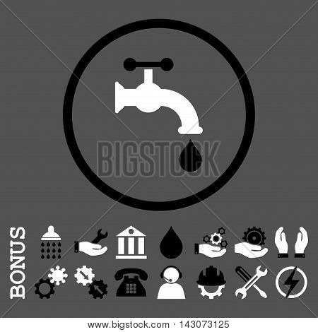 Water Tap glyph bicolor icon. Image style is a flat pictogram symbol inside a circle, black and white colors, gray background. Bonus images are included.